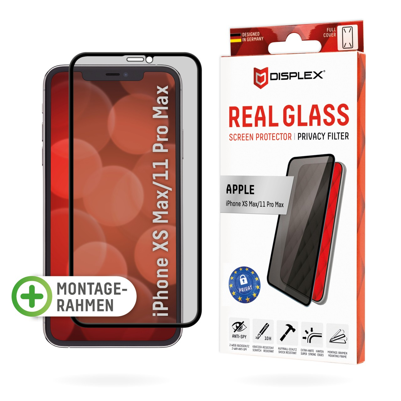 """Real Glass with Privacy Filter for Apple iPhone XS Max/11 Pro Max (6,5""""), Full Cover"""
