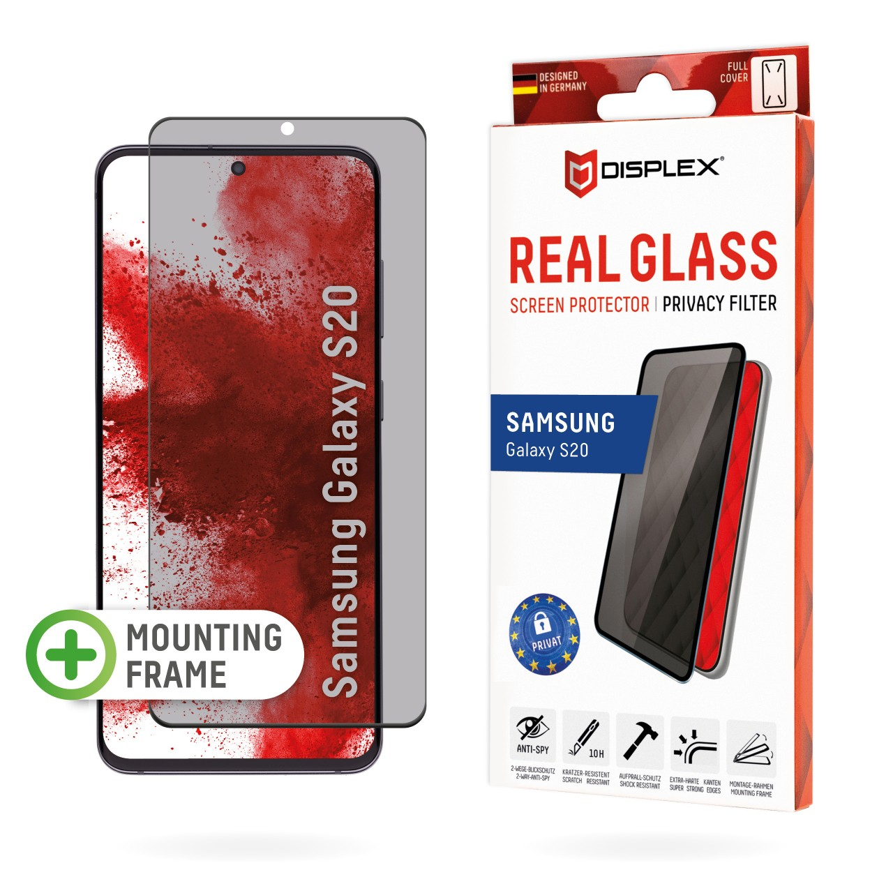 """Real Glass with Privacy Filter for Samsung Galaxy S20/S20 5G (6,2""""), Full Cover"""