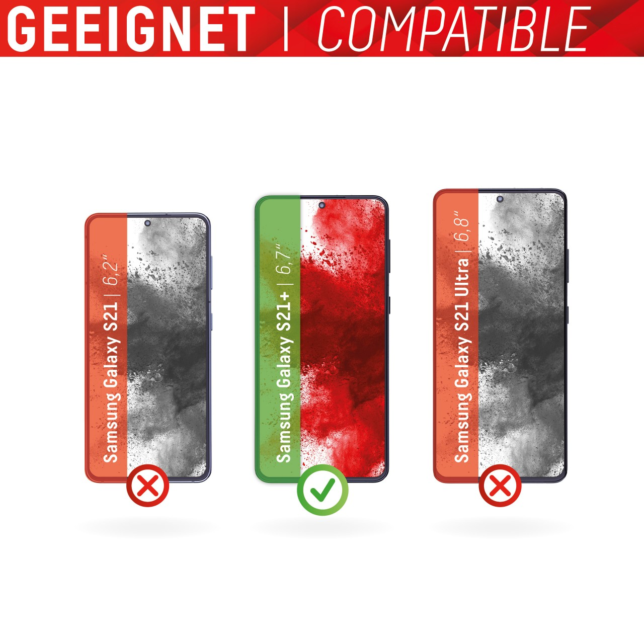 Galaxy S21+ 5G Full Cover Schutzglas + Case
