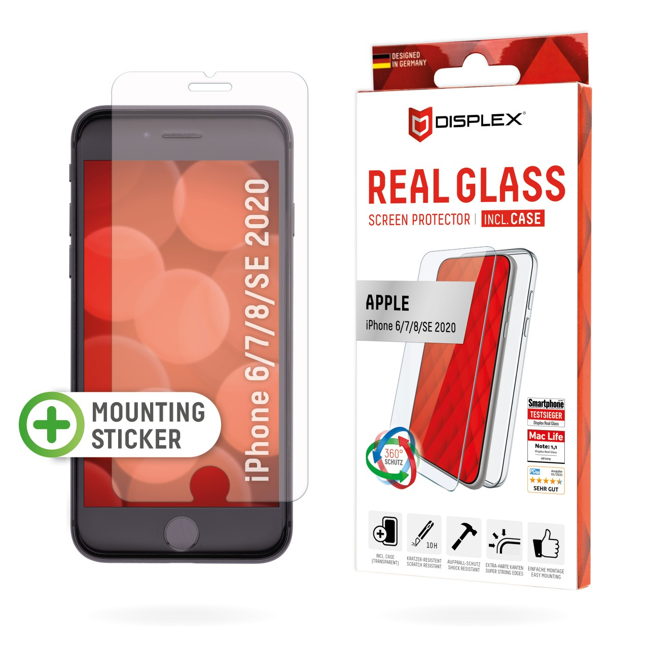 iPhone 7/8/SE(2020) Screen Protector (2D) + Case