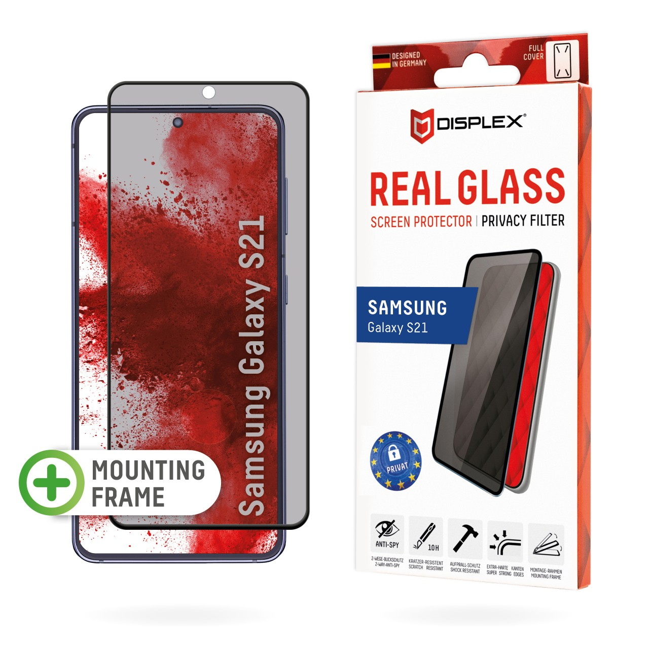 """Real Glass with Privacy Filter for Samsung Galaxy S21 5G (6,2""""), Full Cover"""