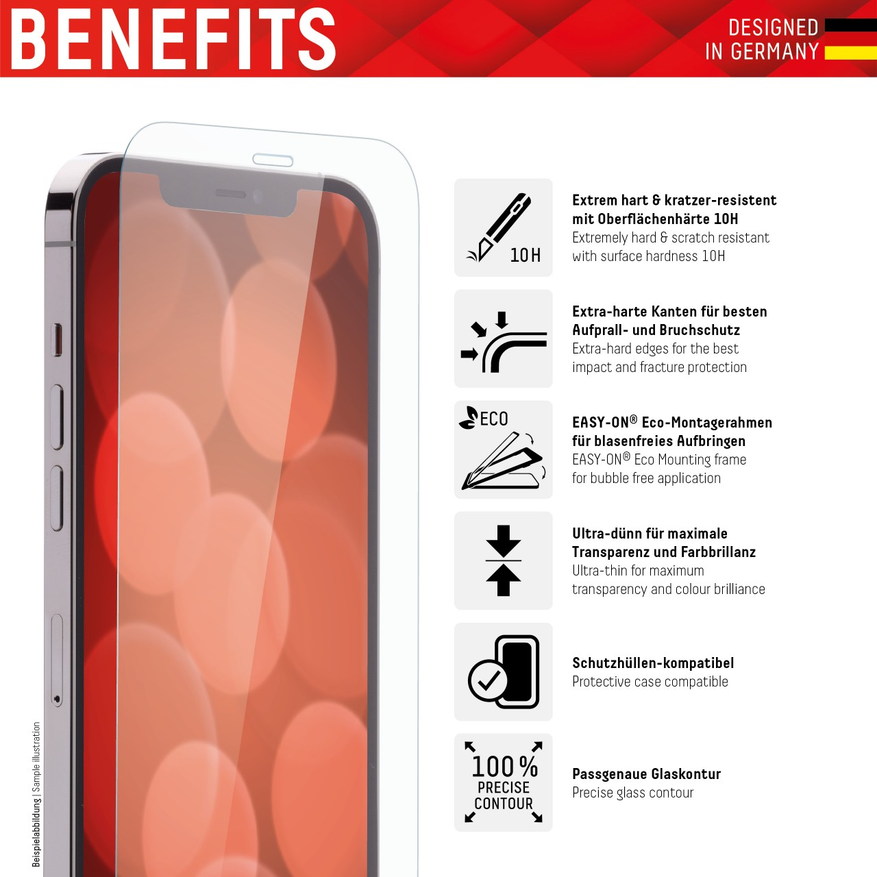 "Real Glass für Apple iPhone 6+/7+/8+ (5,5""), 2D"