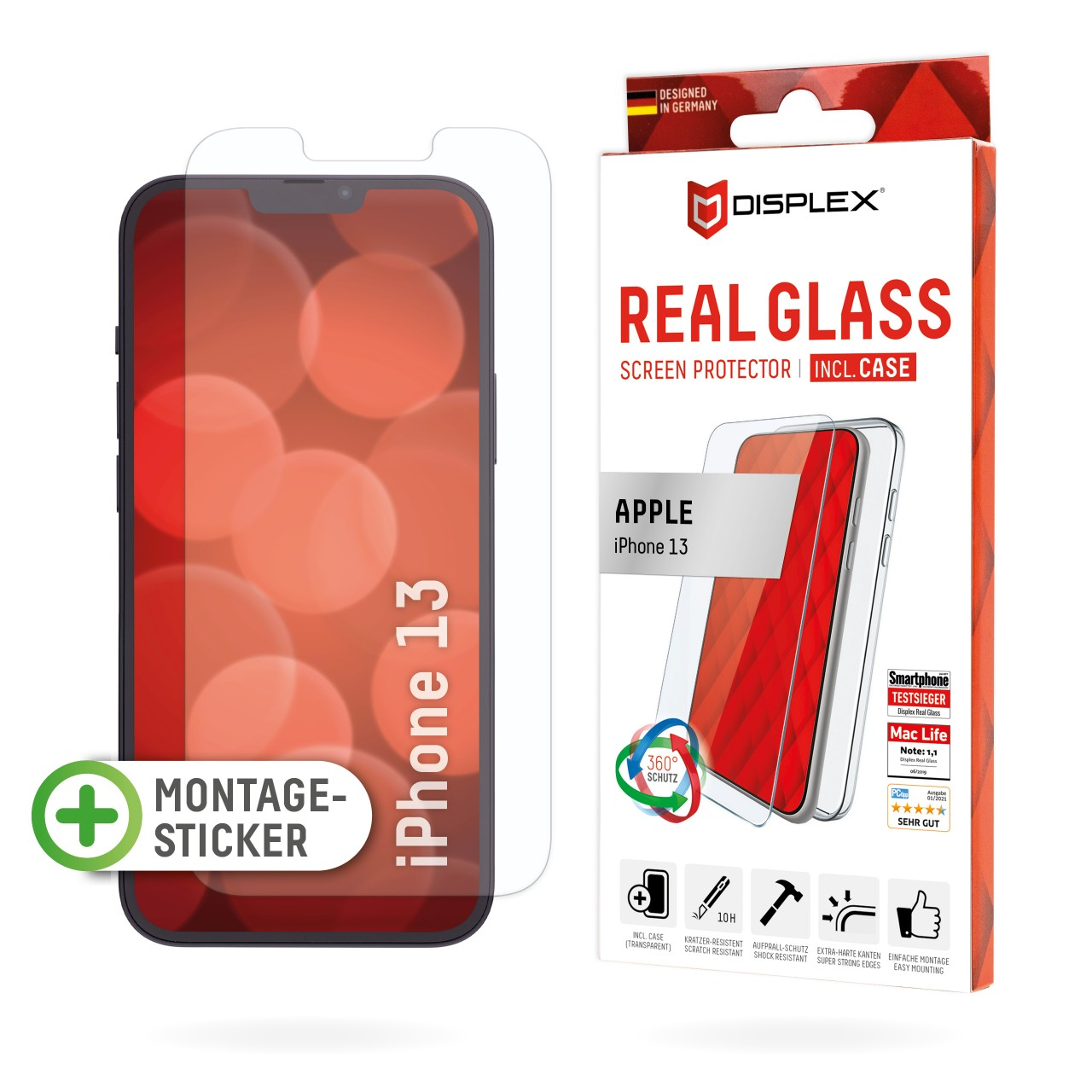 iPhone 13 2D Schutzglas + Case