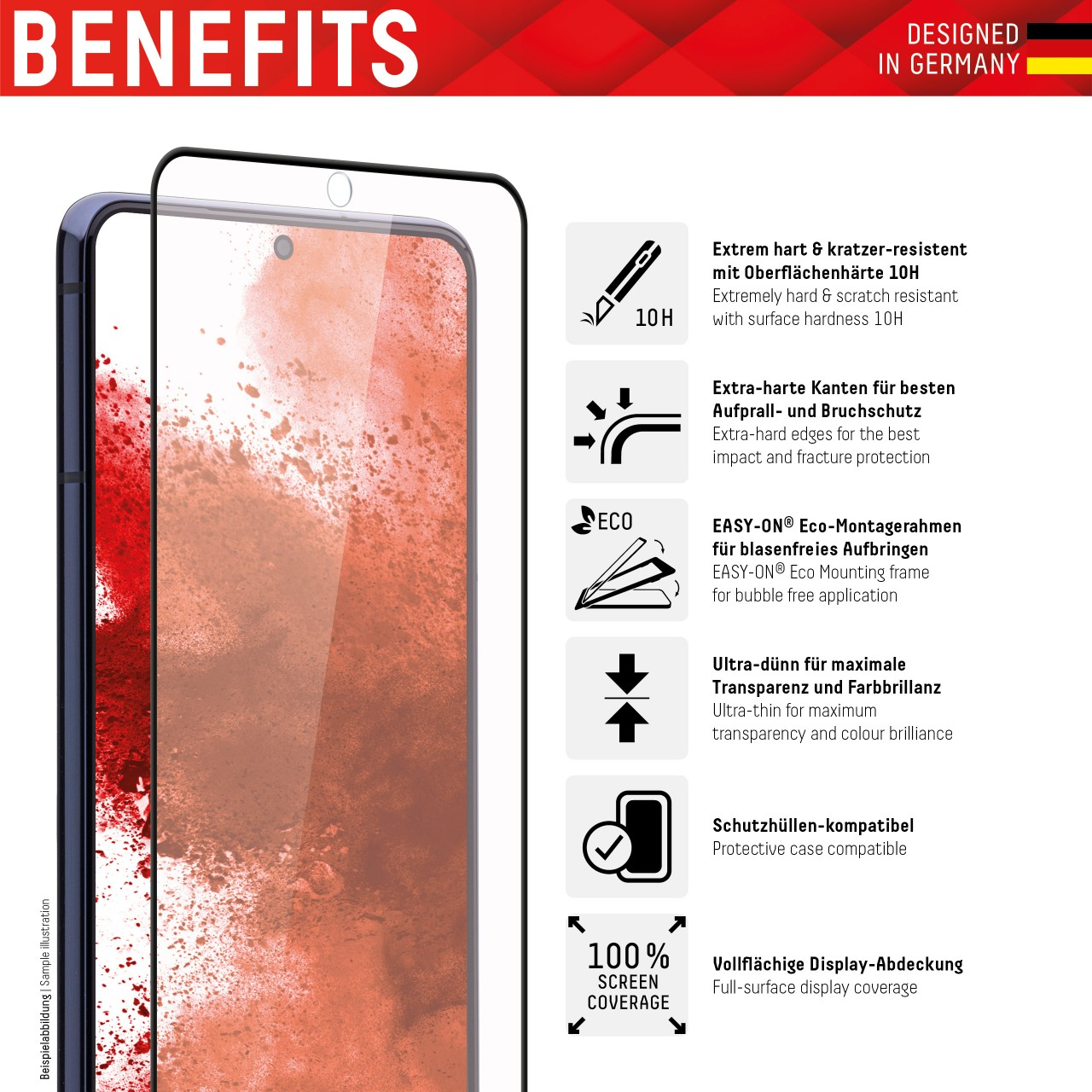 """Real Glass for Samsung Galaxy S9+ (6,2""""), Full Cover"""