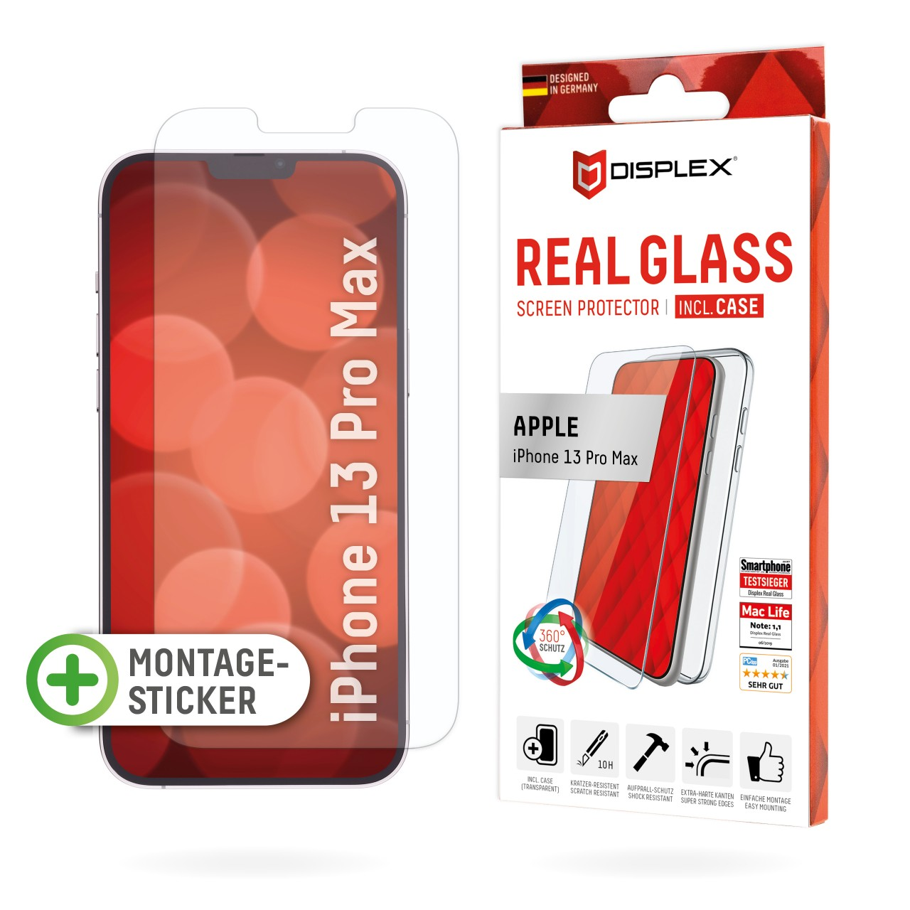 iPhone 13 Pro Max 2D Schutzglas + Case