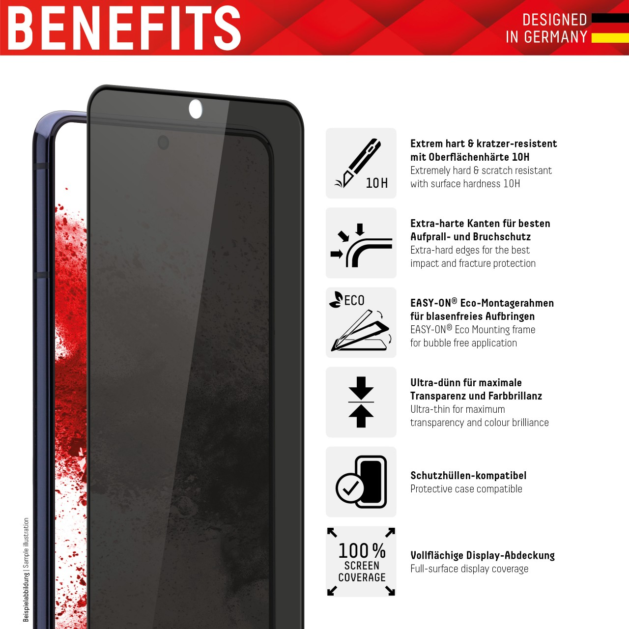 """Real Glass mit Privacy Filter für Samsung Galaxy S20 Ultra (6,9""""), Full Cover"""