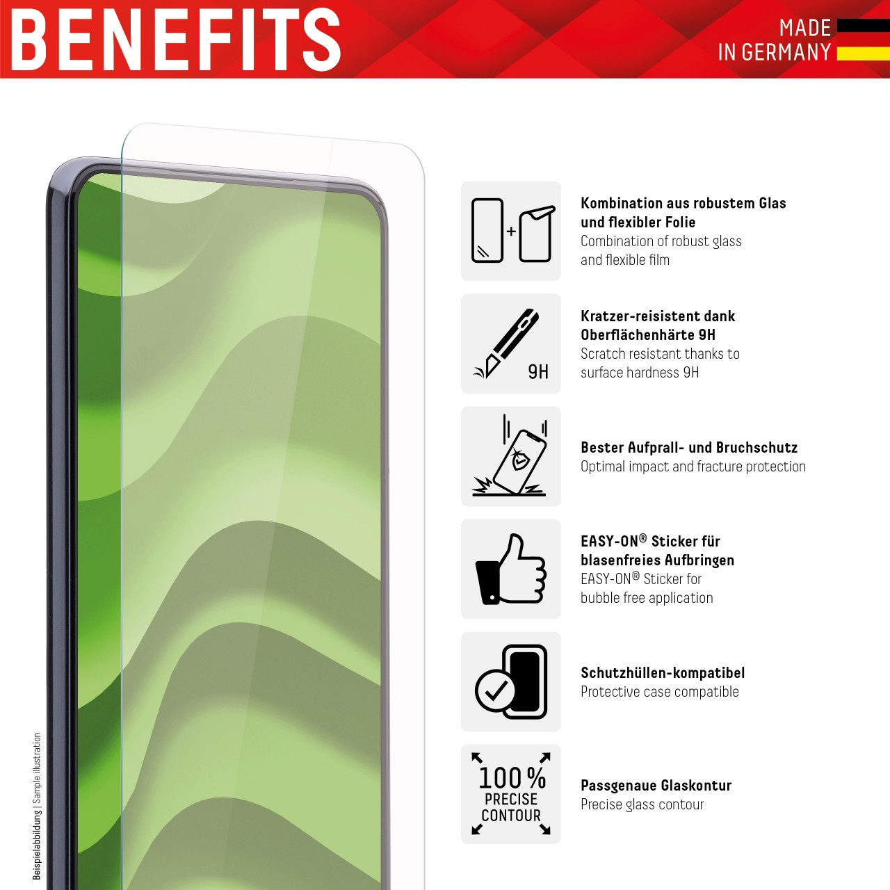 "Hybrid Glass für Apple iPhone 6/7/8/SE (2020) (4,7"")"