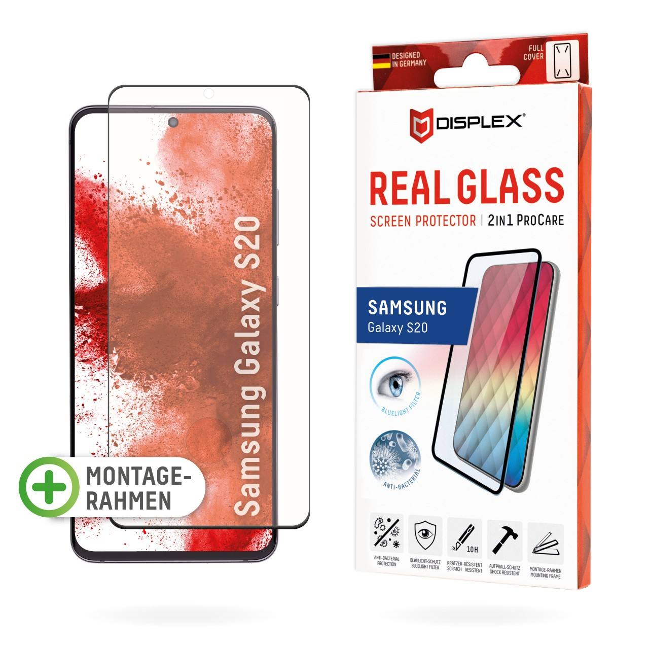 Galaxy S20/S20 5G 2in1 Schutzglas (antibakteriell/ Bluelight)