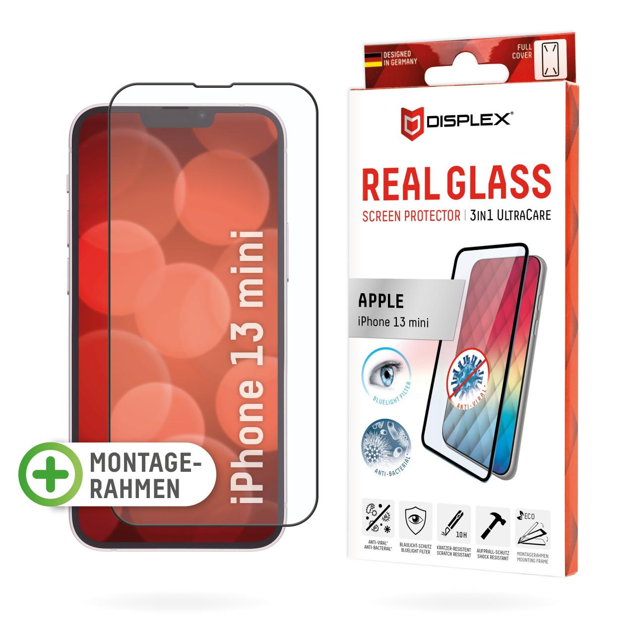 iPhone 13 mini 3in1 Schutzglas (antiviral/ -bakt.)