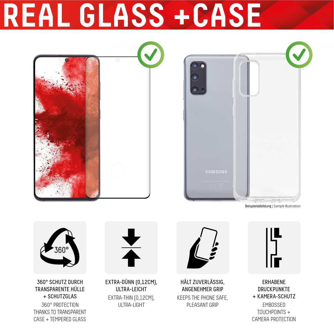 """Real Glass für Samsung Galaxy S20+ (6,7""""), Full Cover"""