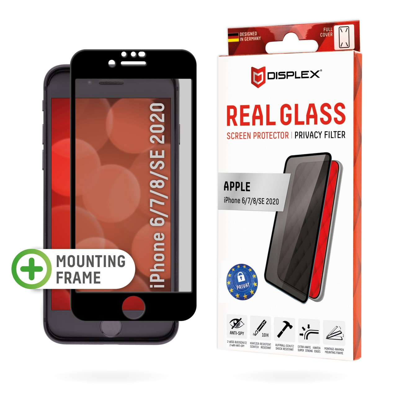 """Real Glass with Privacy Filter for Apple iPhone 6/7/8/SE(2020) (4,7""""), Full Cover"""