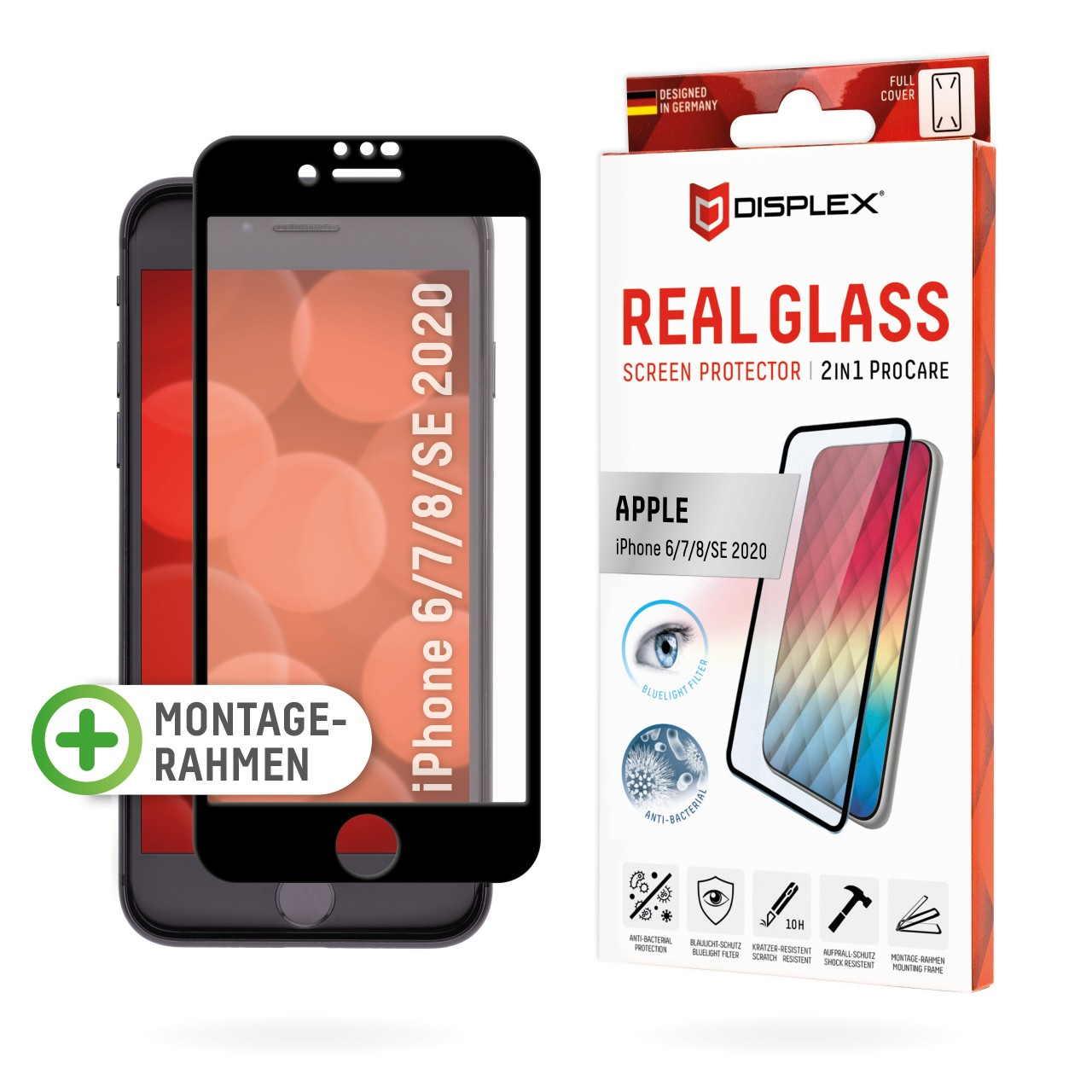 "Real Glass 2in1 ProCare für Apple 6/7/8/SE (2020) (4,7""), Full Cover"