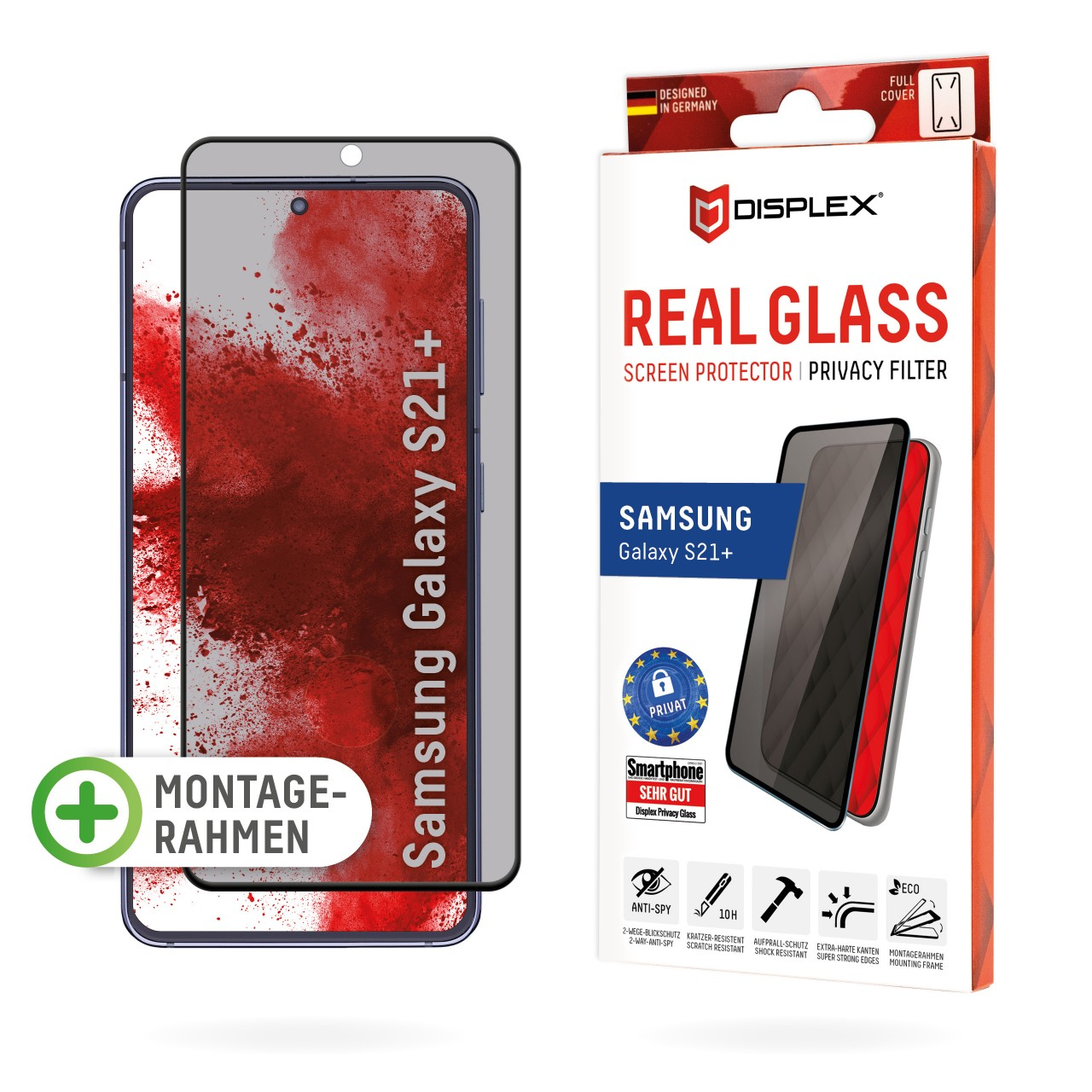 """Real Glass mit Privacy Filter für Samsung Galaxy S21+ (6,7""""), Full Cover"""