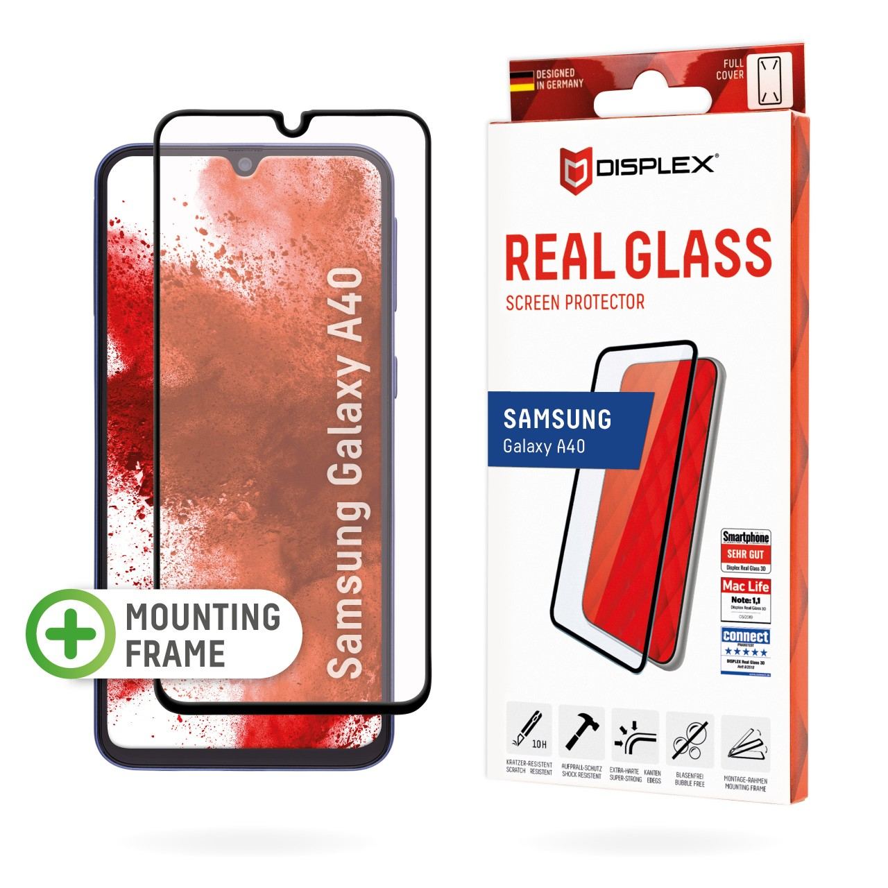 """Real Glass for Samsung Galaxy A40 (5,9""""), Full Cover"""