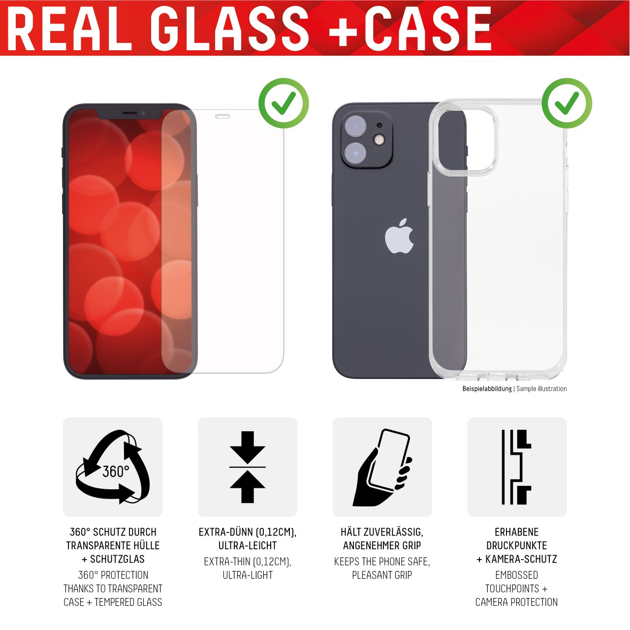 """Real Glass + Case für Apple iPhone 12 Pro Max (6,7""""), 2D"""