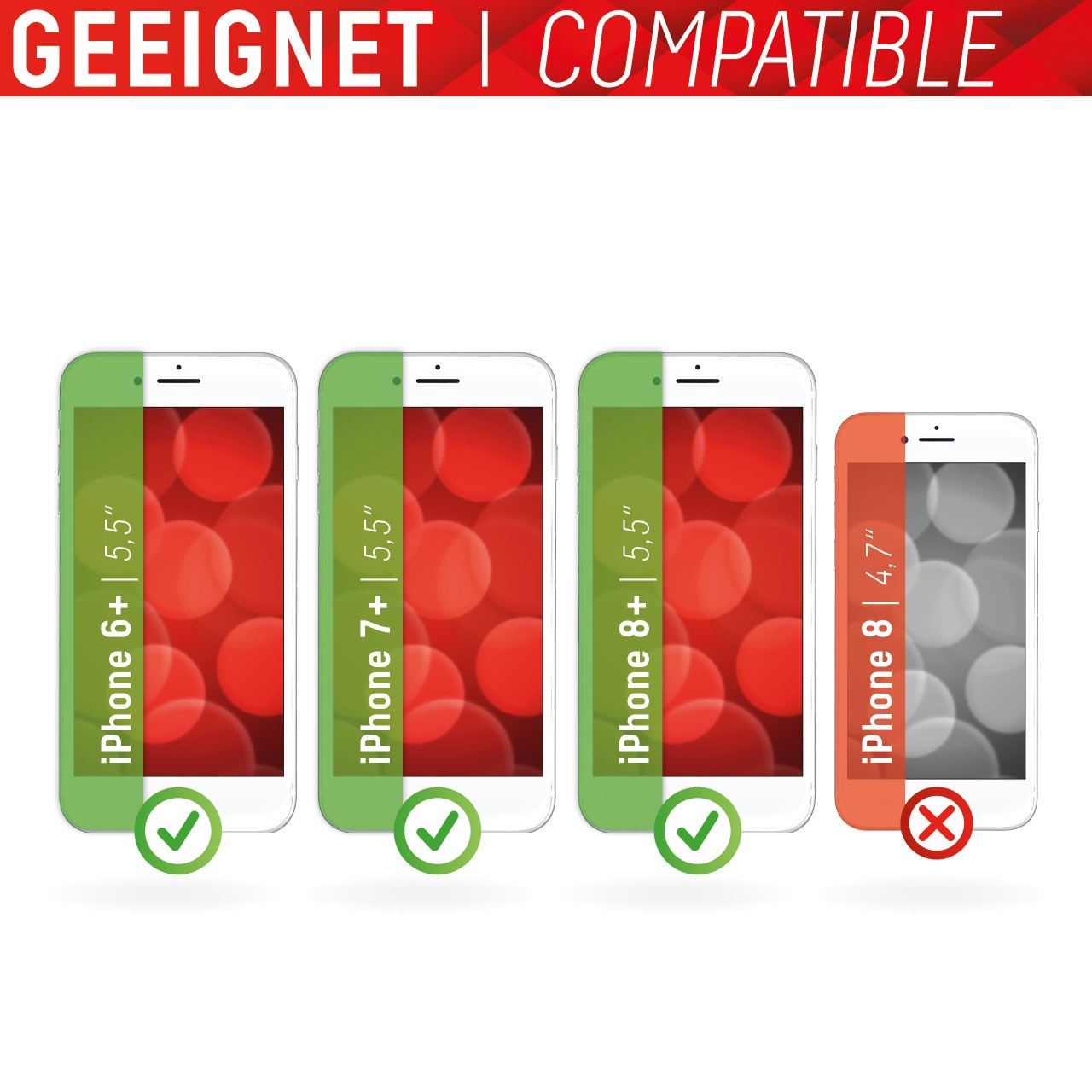 """Real Glass for Apple iPhone 6+/7+/8+ (5,5""""), Full Cover"""