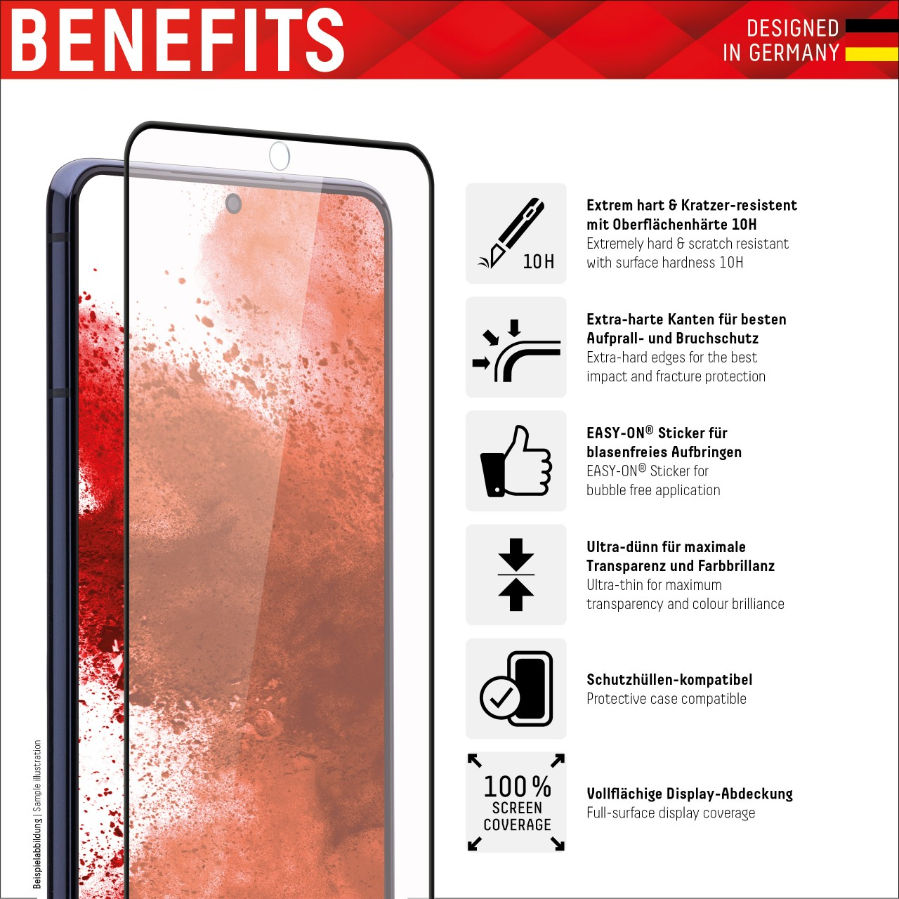 """Real Glass für Samsung Galaxy S10 (6,1""""), Full Cover"""