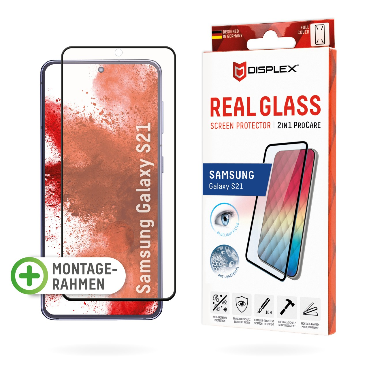 "Real Glass 2in1 ProCare für Samsung Galaxy S21 (6,2""), Full Cover"